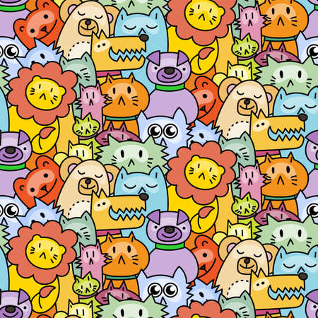 Seamless pattern with cute animals. Dogs, Cats, lion. Vector illustration Çizim
