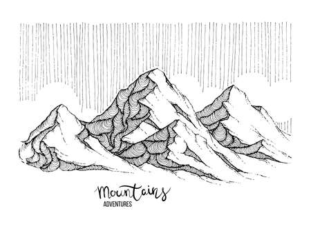 Hand drawn image of a mountain peak, engraving style, grunge textured vector illustrations. Lettering Mountains Adventure