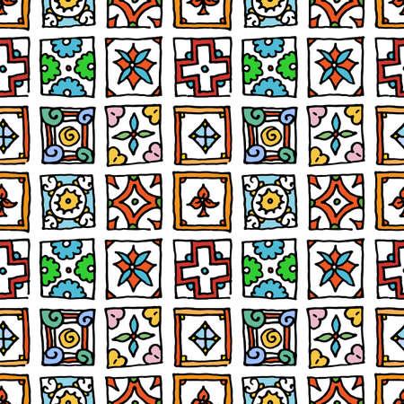 Seamless pattern of grunge tiles. Vintage Islam, Arabic, Indian, ottoman decorative design elements. Patchwork handdrawn motifs. Vector collection