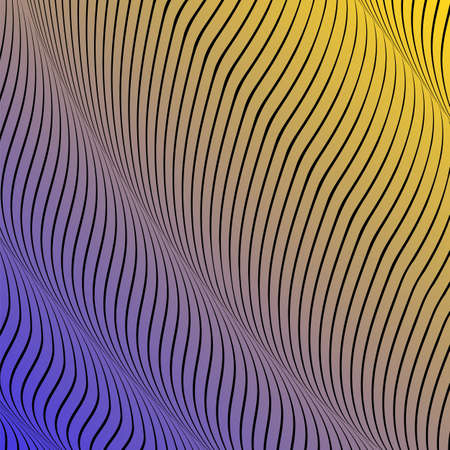 Abstract acid color wavy background, optical art, opart striped. Neon gradient. Vector waves, geometry line stripes Illustration