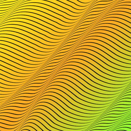 Abstract acid color wavy background, optical art, opart striped. Neon gradient. Vector waves, geometry line stripes  イラスト・ベクター素材