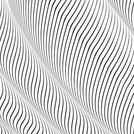 Abstract wavy background, optical art, opart striped. Vector waves, geometry ripple line stripes Vektorové ilustrace