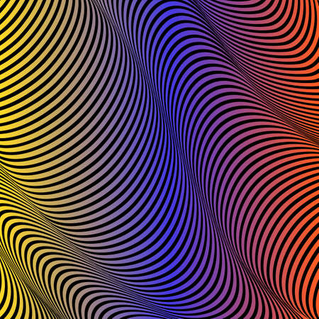 Abstract acid color wavy background, optical art, opart striped. Neon gradient. Vector waves, geometry line stripes
