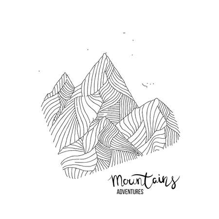 Hand drawn image of a mountain peak, engraving style, grunge textured vector illustrations 일러스트