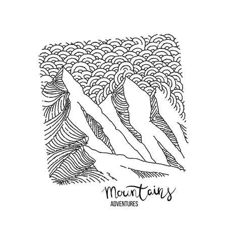 Handgezeichnetes Bild eines Berggipfels, Gravurstil, Grunge-strukturierte Vektorillustrationen Vektorgrafik