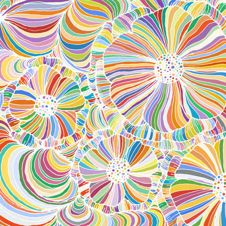 Vector doodle outline abstract ornamental flowers stripe background. Funky backdrop