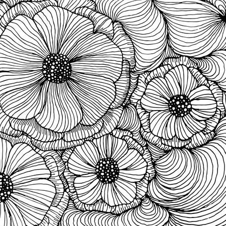 Vector doodle outline abstract ornamental flowers stripe background. Funky backdrop for coloring book Vettoriali