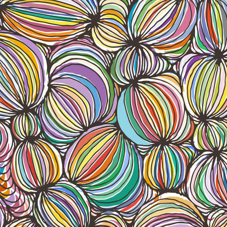 Fondo de la raya de la bola ornamental abstracta del esquema del doodle del vector. Telón de fondo funky