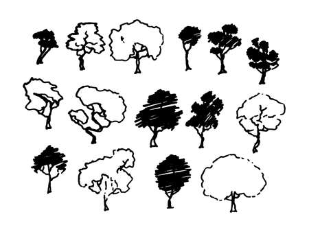 Trees sketch set, cartoon vintage illustration, ink draw engraved style, hand drawn isolates. Vector image