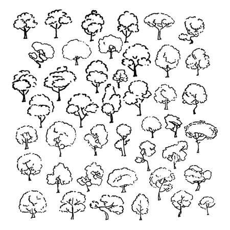 Set di schizzi di alberi, illustrazione d'epoca dei cartoni animati, stile inciso a inchiostro, isolati disegnati a mano. Immagine vettoriale Vettoriali