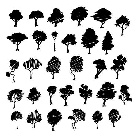 Set di schizzi di alberi, illustrazione d'epoca dei cartoni animati, stile inciso a inchiostro, isolati disegnati a mano. Immagine vettoriale