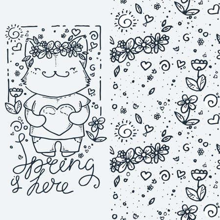 Spring is here. Set of cute cartoon animal and seamless pattern. Vector clip art illustration for children design, cards, prints, coloring books Vektoros illusztráció