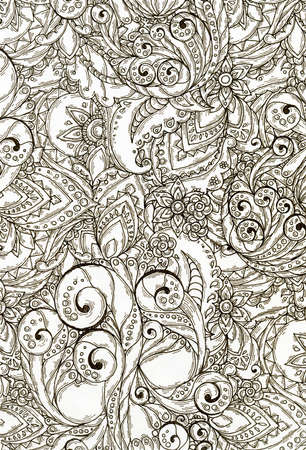 Raster pattern of abstract flowers and paisley elements in Indian mehendi style. Hidden skull.