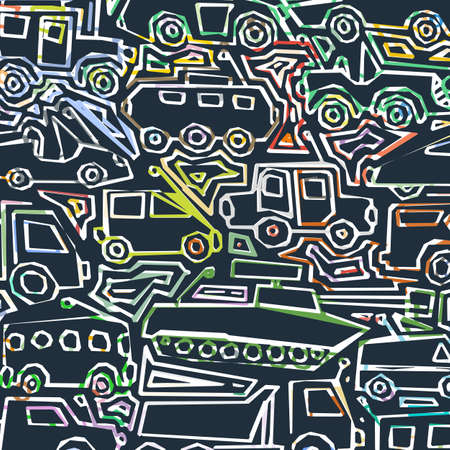 Vector color auto pattern, doodle lines, colorful grunge background. Abstract kids surface, cartoon childish pattern