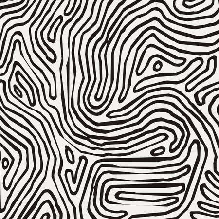 Vector monochrome pattern, curved lines, black and white grunge background. Abstract dynamical rippled surface, illusion of movement, curvature