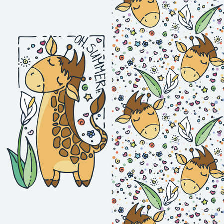 Oh, summer! Cute little giraffe, cartoon hand drawn vector seamless pattern. Cute for baby coloring pages, t-shirt print, fashion prints, kids wear, baby shower celebration, greeting and invitation cards and labels