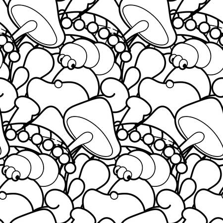 Cute seamless forest pattern with mushrooms. Nice for prints, design, colorings, cards, textile. Vector illustration