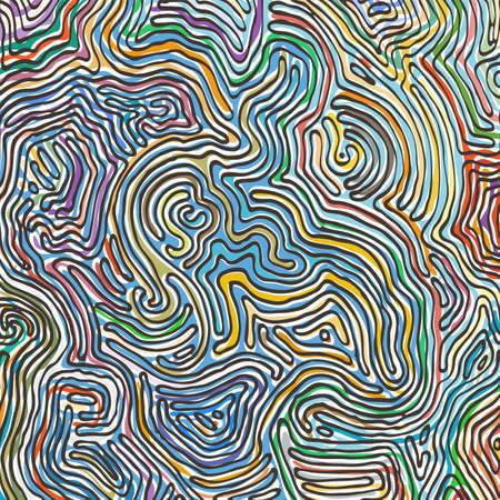 Vektorfarbmuster, geschwungene Linien, bunter Grunge-Hintergrund. Abstrakte dynamische gewellte Oberfläche, Bewegungsillusion, Krümmung, Steinstruktur