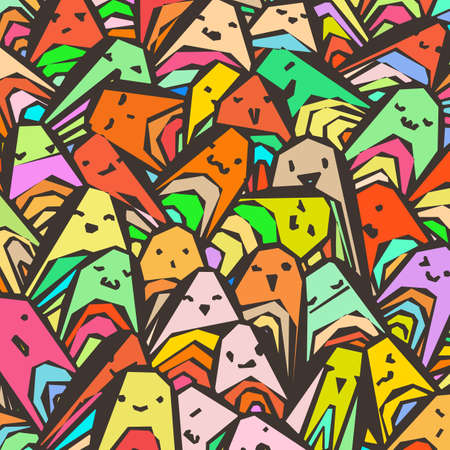 Pattern of a crowd of many different faces. Coloring pages, prints, designs. Not seamless abstract vector pattern. Çizim