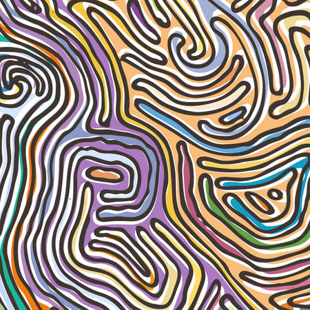 Vector color pattern, curved lines, colorful grunge background. Abstract dynamical rippled surface, illusion of movement, curvature, stone texture
