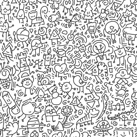 Cartoon cute doodles hand drawn grunge illustration. Line art scribble detailed, with lots of objects and lines background. Funny and crazy vector artwork