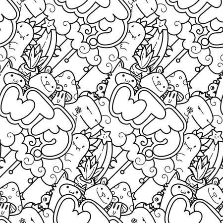 WTF. 귀여운 만화 괴물과 짐승과 원활한 벡터 패턴입니다. 포장, 포장지, 색칠 공부 페이지, 벽지, 직물, 패션, 가정 장식, 지문 등에 좋습니다. 벡터 일러스트 레이 션