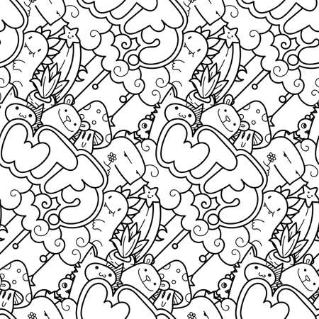 WTF. Seamless vector pattern with cute cartoon monsters and beasts. Nice for packaging, wrapping paper, coloring pages, wallpaper, fabric, fashion, home decor, prints etc. Vector illustration