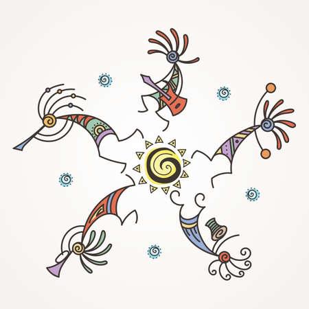 Círculo de Kokopelli dibujado a mano. Personajes míticos estilizados tocando flautas. Arte vectorial para impresiones, diseño, tarjetas, niños y libros para colorear, camisetas