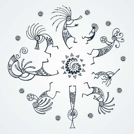 Círculo de música Kokopelli dibujado a mano. Personajes míticos estilizados tocando flautas. Arte vectorial para impresiones. diseño, tarjetas, libros infantiles y para colorear, camisetas