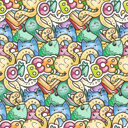 That is all. Seamless vector pattern with cute cartoon monsters and beasts. Nice for packaging, wrapping paper, coloring pages, wallpaper, fabric, fashion, home decor, prints etc. Vector illustration