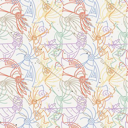 Dibujado a mano Kokopelli de patrones sin fisuras. Personajes míticos estilizados tocando flautas. Arte vectorial para impresiones. diseño, tarjetas, libros infantiles y para colorear, camisetas Ilustración de vector