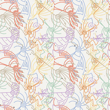 Hand drawn Kokopelli seamless pattern. Stylized mythical characters playing flutes. Vector art for prints. design, cards, children and coloring books, t-shirts
