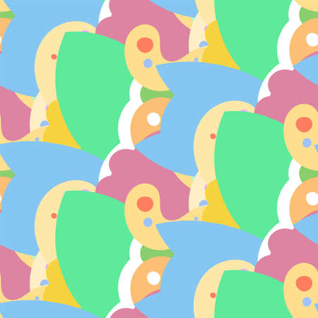 Seamless vector pattern with cute cartoon monsters and beasts. Nice for packaging, wrapping paper, coloring pages, wallpaper, fabric, fashion, home decor, prints etc. Vector illustration 矢量图片
