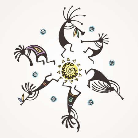 Círculo de Kokopelli dibujado a mano. Personajes míticos estilizados tocando flautas. Arte vectorial para impresiones. diseño, tarjetas, libros infantiles y para colorear, camisetas