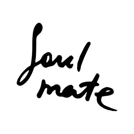 Soul mate. Doodle grunge lettering. Brush calligraphy text for banner, poster, greeting card, party invitation. Vector illustration