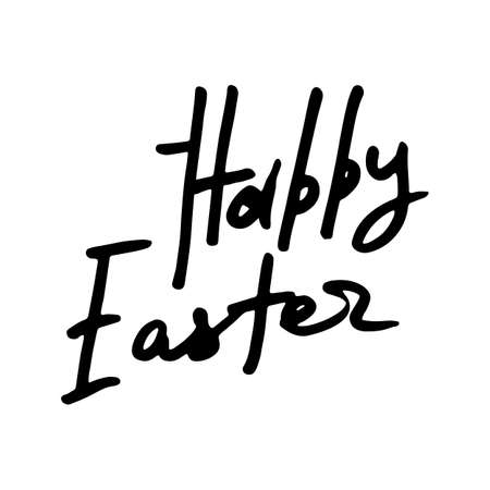 Happy Easter. Hand drawn elegant modern brush ink lettering isolated on white background. Vector illustration Çizim