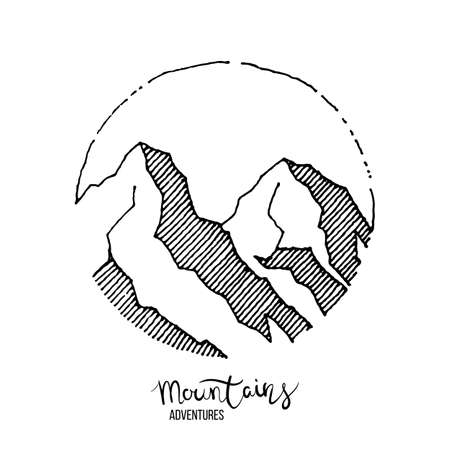 Mountain adventure. Hand drawn grunge label with mountains. Inspirational textured vector illustration with lettering Ilustrace