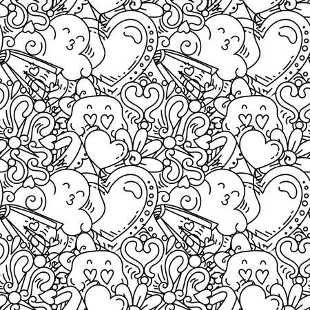 Graffiti seamless pattern with love style doodles. Vector background with childish swag and crazy elements. Trendy coloring linear style endless image