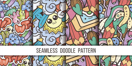 Collection of funny doodle monsters and abstract seamless pattern for prints, designs and coloring books. Vector illustration