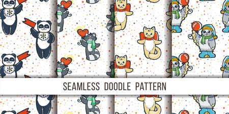 Set of cutest animal seamless patterns. Cartoon hand drawn vector illustration. Nice for t-shirt print, kids wear fashion design, clip-art, baby shower invitation cards