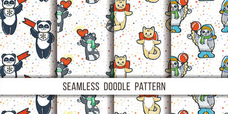 Set of cutest animal seamless patterns. Cartoon hand drawn vector illustration. Nice for t-shirt print, kids wear fashion design, clip-art, baby shower invitation cards