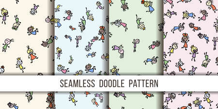Set of seamless patterns with cute handdrawn girls in various emotions. Vector illustration. Nice use for valentines or kid birthday card, as labels, prints etc