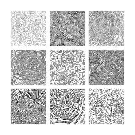 Set of vector abstract pattern, curved lines, grunge boho background. Dynamical rippled surface, hipster curvature 向量圖像