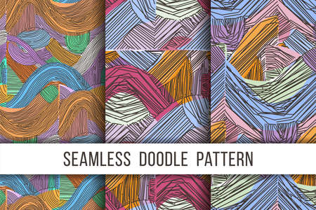 Set of vector seamless abstract pattern, curved lines, grunge boho background. Dynamical rippled surface, hipster curvature