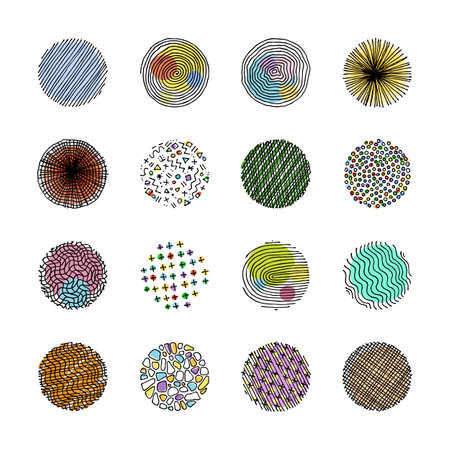 Artistic set of handcrafted design circle elements. Wavy line textures, paint dabs, abstract backgrounds for prints, poster templates, patterns