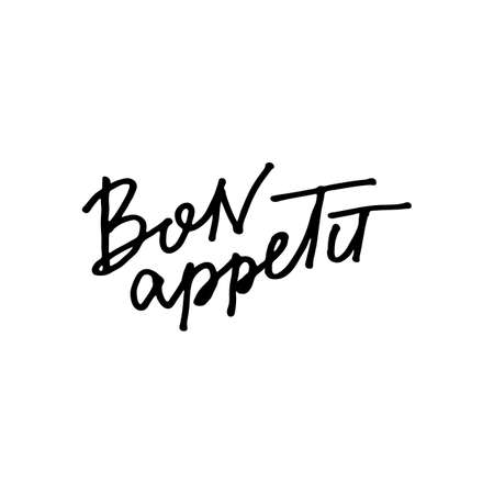 Bon Appetit. Enjoy your meal. Text lettering scandinavian style. Vector illustration. Black and white. Design for print card, prints, tee, cafe, sticker etc