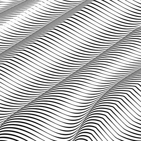Abstract wavy background, optical art, opart striped. Vector waves, geometry ripple line stripes