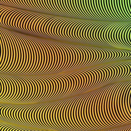 Abstract acid color wavy background, optical art, opart striped. Neon gradient. Vector waves, geometry line stripes Illusztráció
