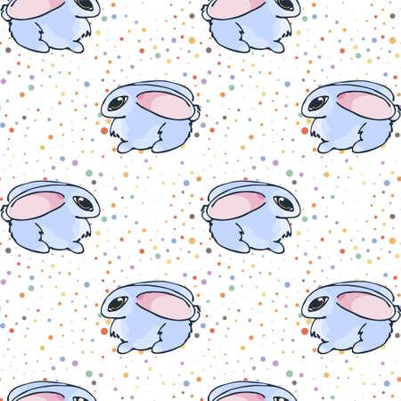Seamless pattern with cute cartoon little rabbits. Vector endless ornament. Illusztráció