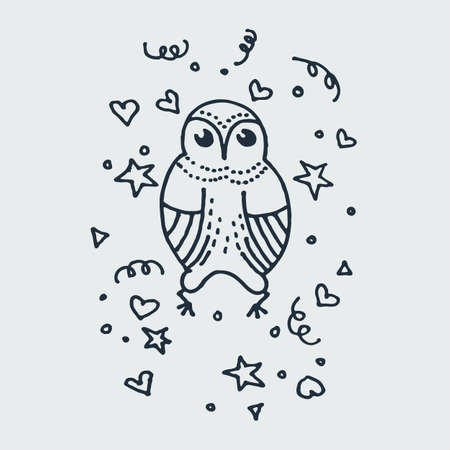 Cute doodle owl. Hand drawn vector illustration. Nice for t-shirt print, kids wear fashion design, baby shower invitation and greetings card.